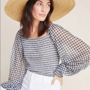 NWT Anthropologie checked large Rouen Top